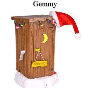 Gemmy Christmas Light Up Animated Santa's Outhouse